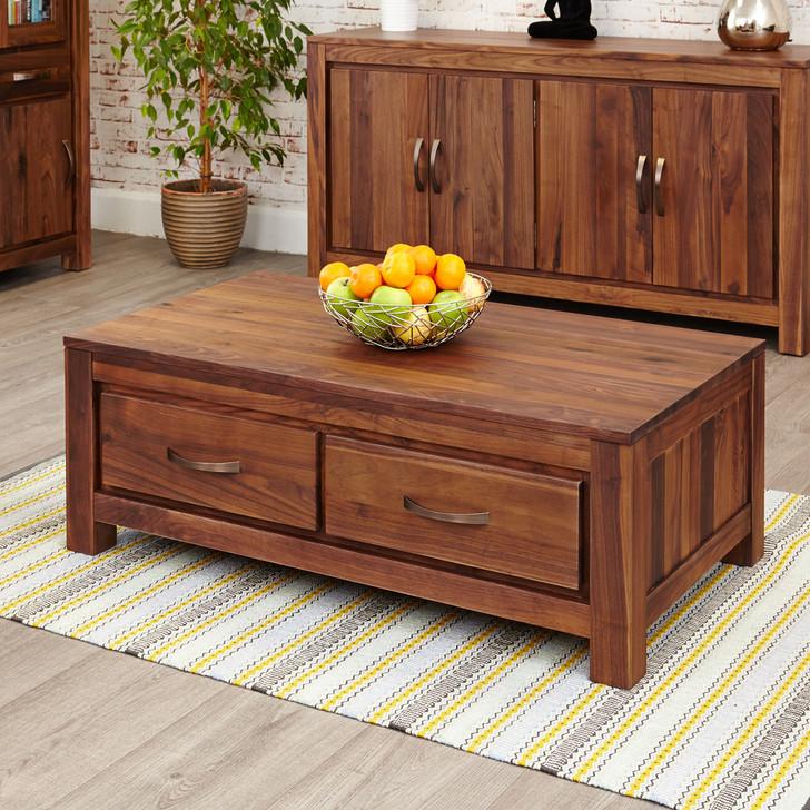 Mayan Walnut Low Four Drawer Coffee Table - CWC08B - 1