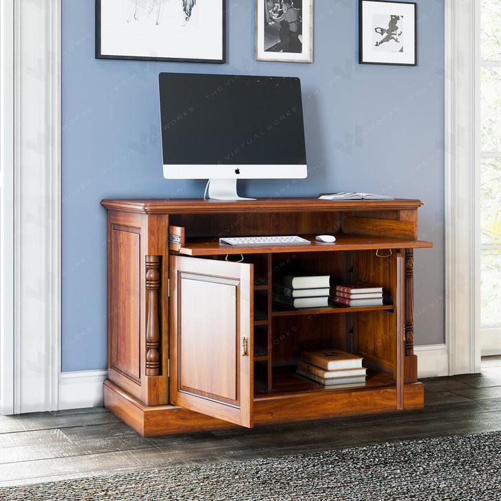 Broomfield Mahogany Hidden Home Office Desk - 1