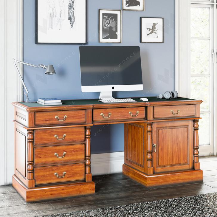 Broomfield Mahogany Twin Pedestal Home Office Desk - 1