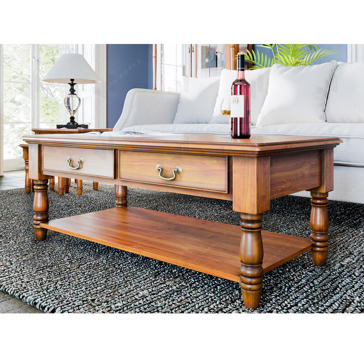 Broomfield Mahogany Coffee Table with Drawers - 1