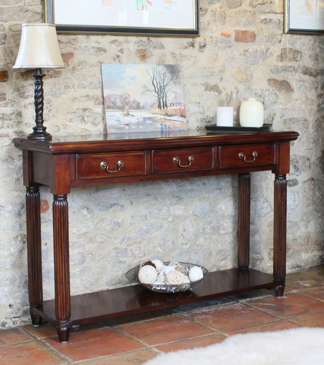 Mahogany La Roque Console Hall Table With Drawers - IMR02C - 1