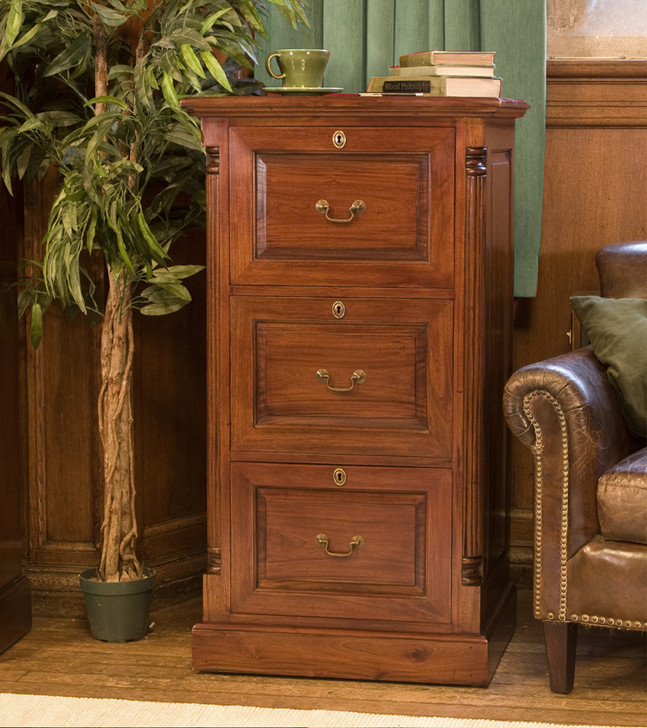 La Roque Mahogany Three Drawer Filing Cabinet - IMR07B - 1