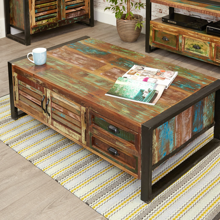 Urban Chic 4 Door 4 Drawers Large Coffee Table - IRF08B - 1