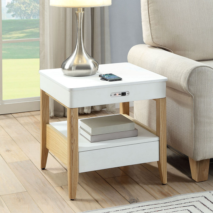 San Francisco Lamp Table With QI Wireless Charger and USB Ports - JF401 - 1