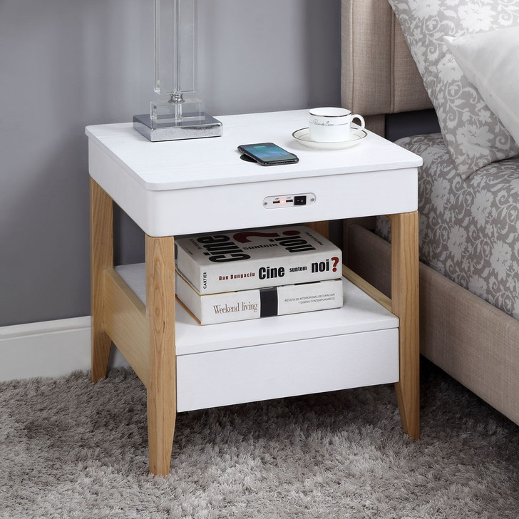 San Francisco Lamp Table With QI Wireless Charger, USB Ports and 2.1 Bluetooth Speakers - JF402 - 1