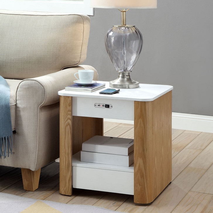 San Francisco Curved Lamp Table With QI Wireless Charger and USB Ports - JF403 - 1