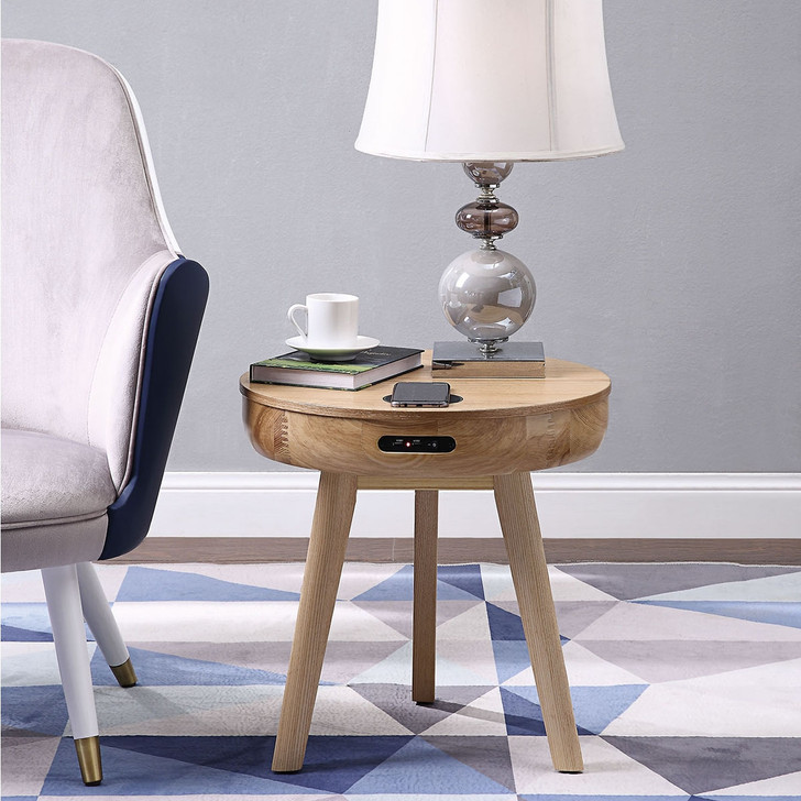San Francisco Round Lamp Table With QI Wireless Charger, USB Ports and 2.1 Bluetooth Speakers - JF710-O - 1