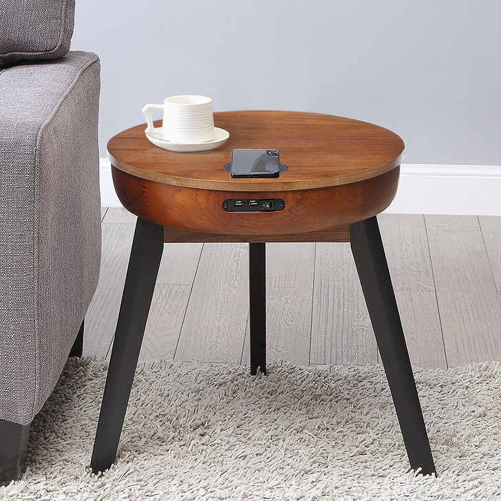 San Francisco Round Walnut Lamp Table With QI Wireless Charger, USB Ports and 2.1 Bluetooth Speakers - JF710-W - 1