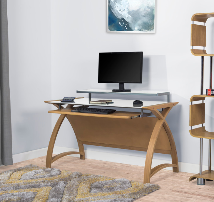 Curve Home Office Large Oak Desk (130cm) - JF-PC201-1300-OD - 1