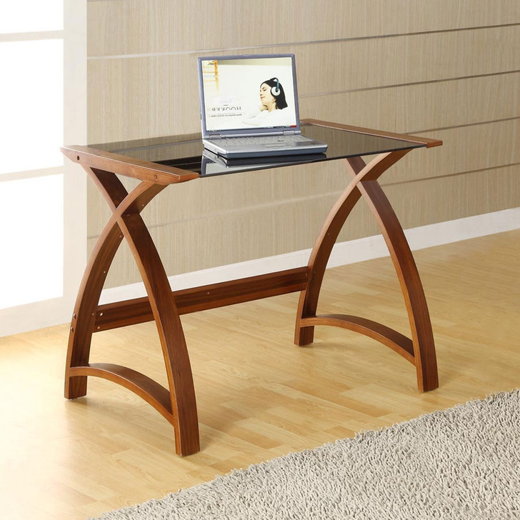 Curve Home Office Walnut Table (90cm) - JF-PC201-900-WT - 1