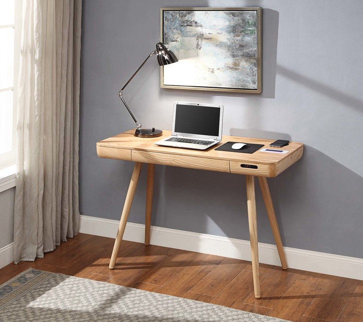 NuHolme Office Smart Desk With QI Wireless Charger, USB Ports and 2.1 Bluetooth Speakers