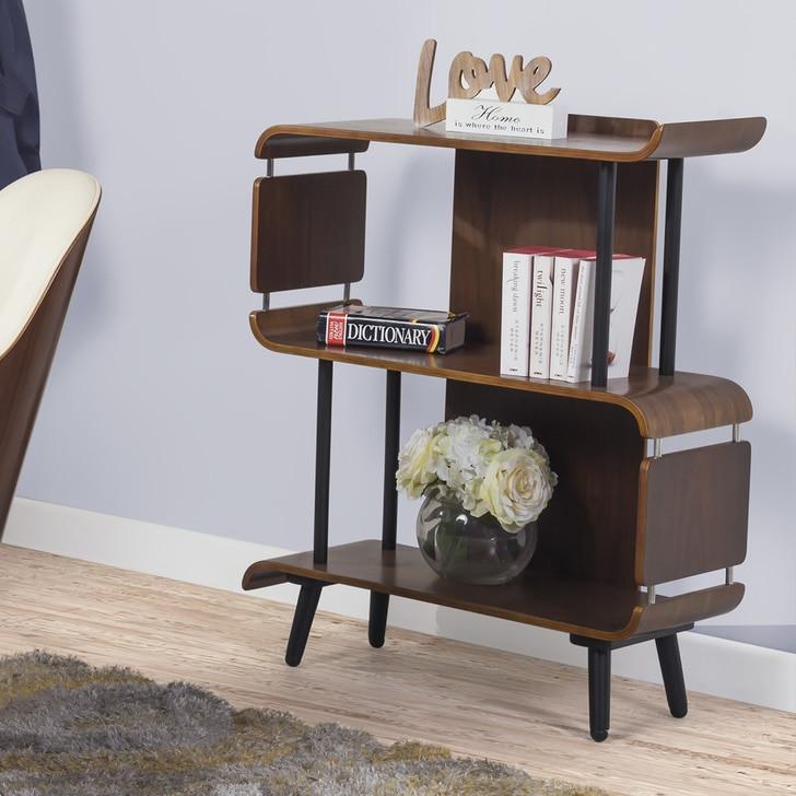 Short walnut curved bookcase