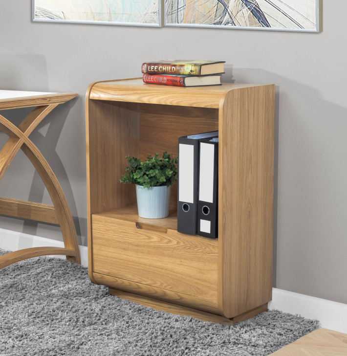 Universal Oak Short Bookcase With Drawer - 1