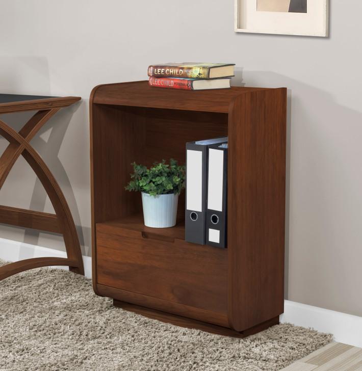 Universal Walnut Short Bookcase With Drawer - 1