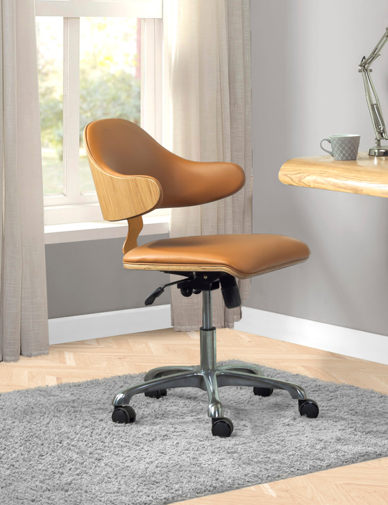 Universal Swivel Home Office Chair In Oak And Tan - 1