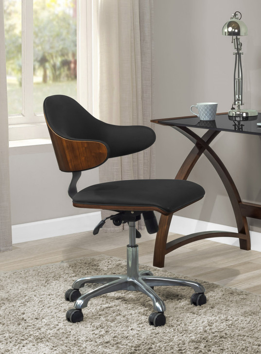 Universal Swivel Home Office Chair In Walnut And Black - 1