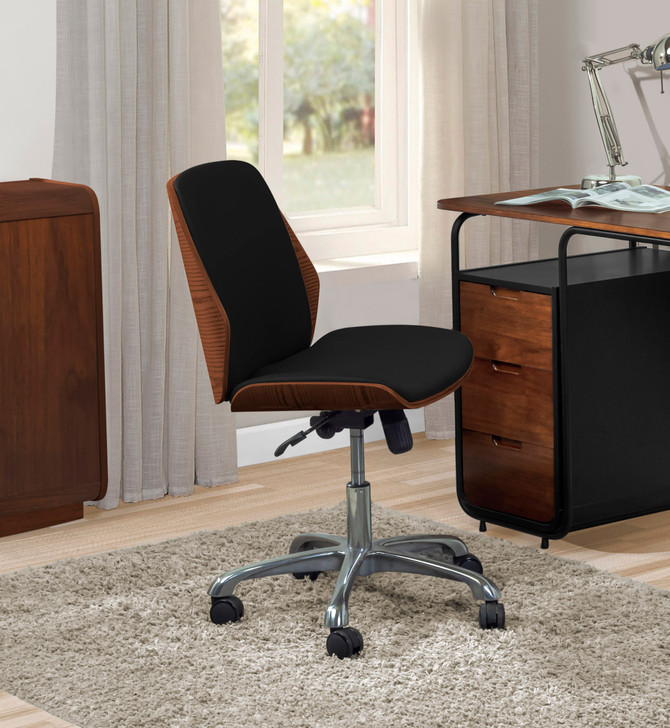 Universal Home Office Chair In Walnut And Black - 1