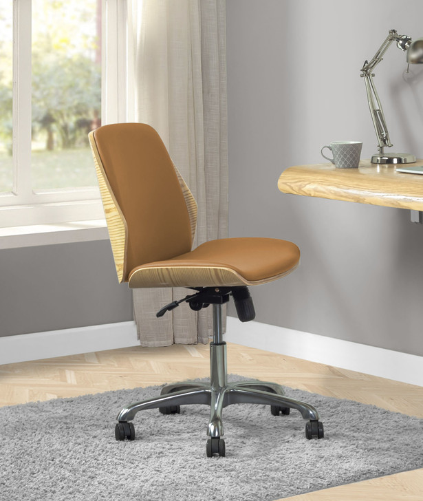 Universal Home Office Chair In Oak And Tan - 1