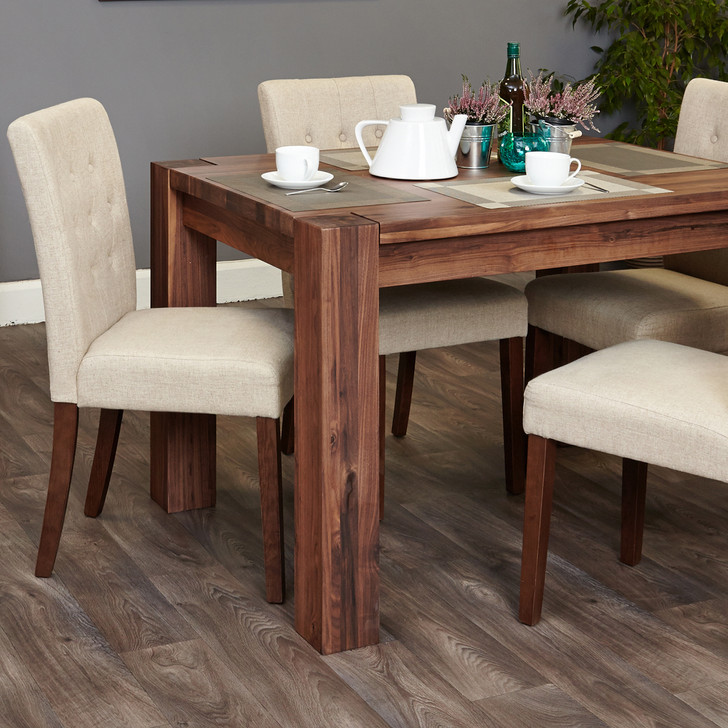 Shiro Walnut 4 seat dining table and 4 cream linen chairs - SOCDR04A-CDR03D - 1