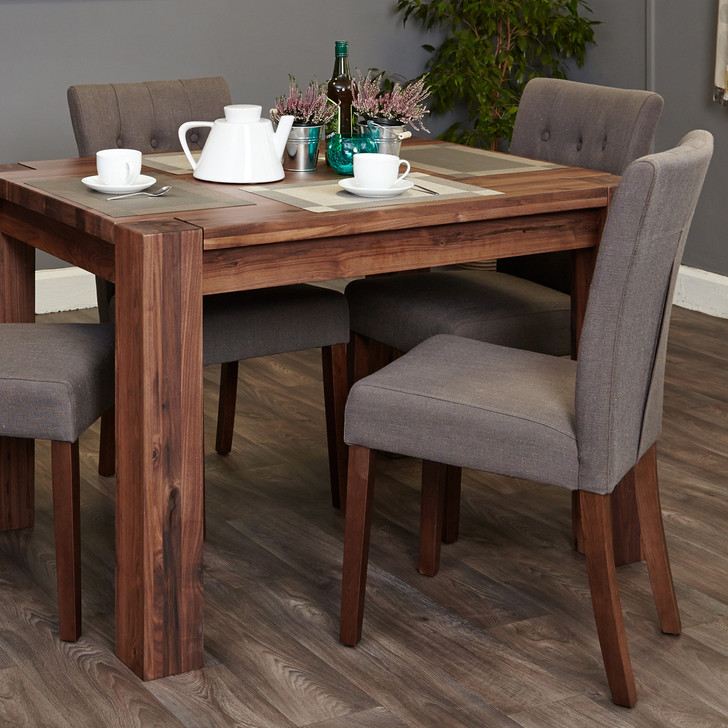 Shiro Walnut 4 seat dining table and 4 grey linen chairs - SOCDR04A-CDR03E - 1