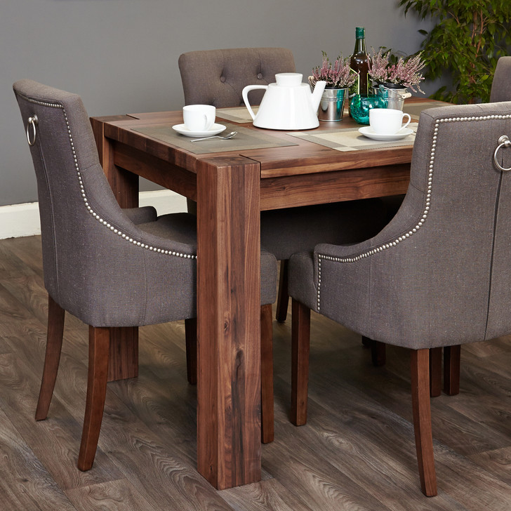 Shiro Walnut 4 seat table and 4 grey chairs with arms - SOCDR04A-CDR03F - 1