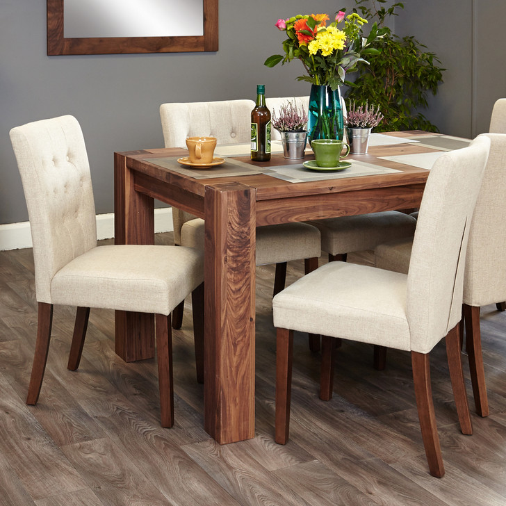 Shiro Walnut 6 seat table and 6 cream chairs - SOCDR04B-CDR03D - 1