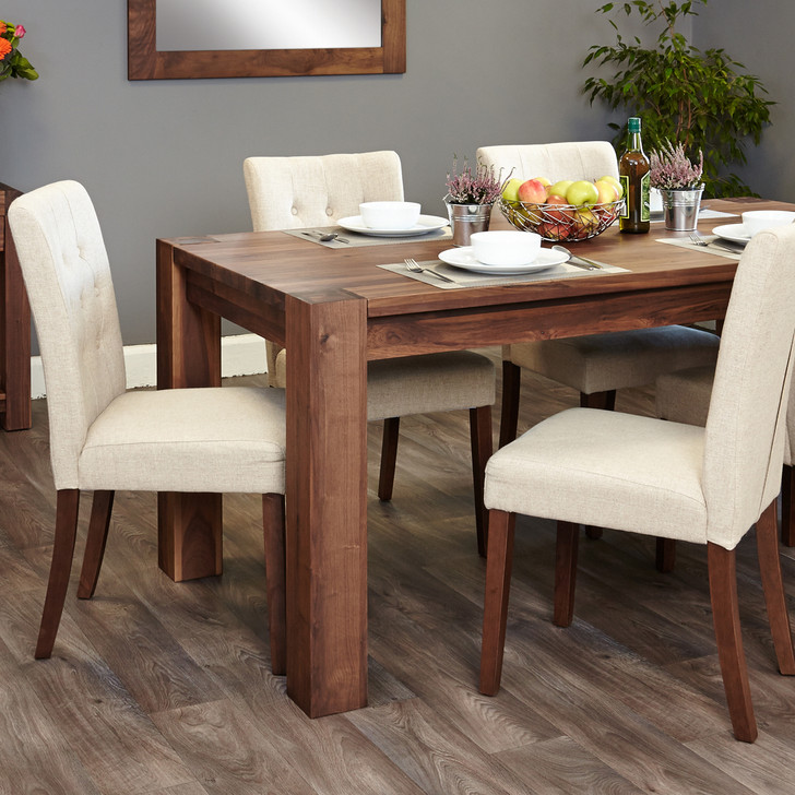 Shiro Walnut 6-8 seat table and 6 cream chairs - SOCDR04C-CDR03D - 1
