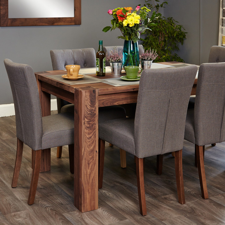 Shiro Walnut 6-8 seat dining table and 6 grey linen chairs - SOCDR04C-CDR03E - 1