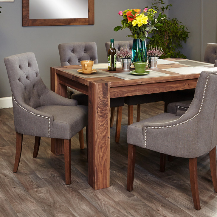Shiro Walnut 6-8 seat table and 6 grey chairs with arms - SOCDR04C-CDR03F - 1