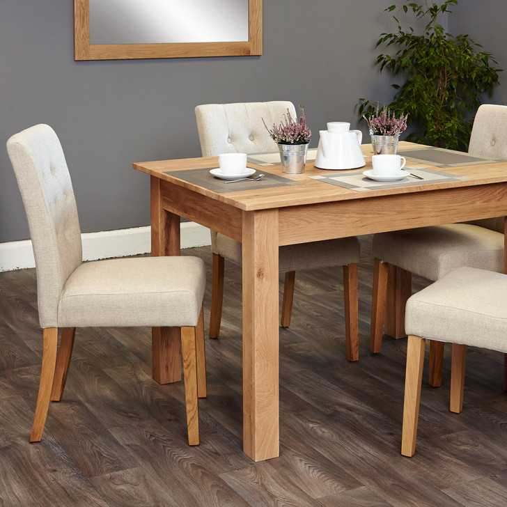 Mobel Oak four seat table and cream chairs - SOCOR04A-COR03D - 1