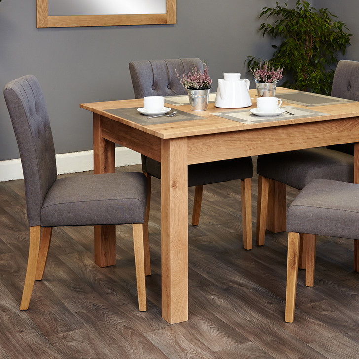 Mobel Oak four seat table and grey chairs - SOCOR04A-COR03E - 1