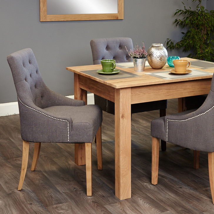 Mobel Oak four seat table and grey chairs with arms - SOCOR04A-COR03F - 1