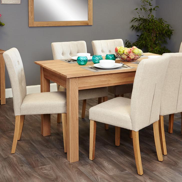 Mobel Oak 4-6 seat table and 6 cream chairs - SOCOR04B-COR03D - 1