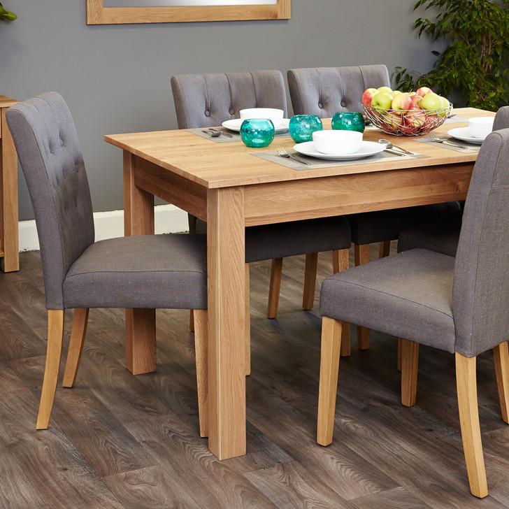 Mobel Oak 4-6 seat table and 6 grey chairs - SOCOR04B-COR03E - 1
