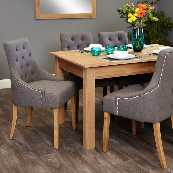 Mobel Oak 4-6 seat table and 6 grey chairs with arms - SOCOR04B-COR03F - 1