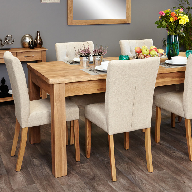 Mobel Oak extending table and 6 cream chairs - SOCOR04E-COR03D - 1