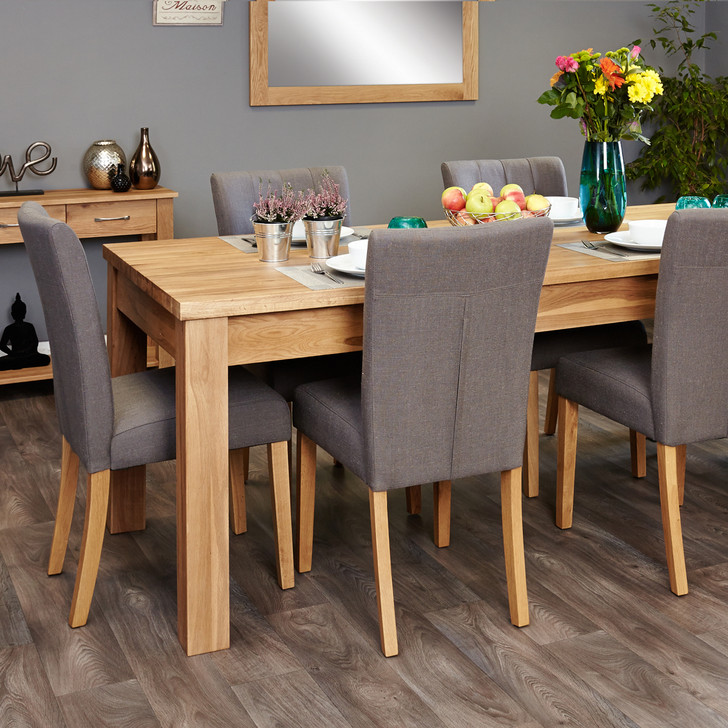 Mobel Oak extending table and 6 grey chairs - SOCOR04E-COR03E - 1