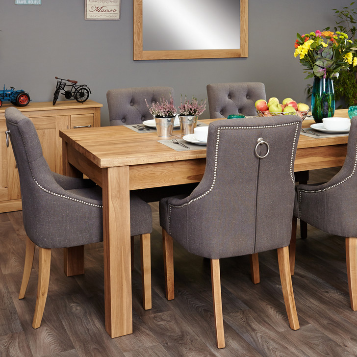 Mobel Oak extending table and 6 grey chairs with arms - SOCOR04E-COR03F - 1