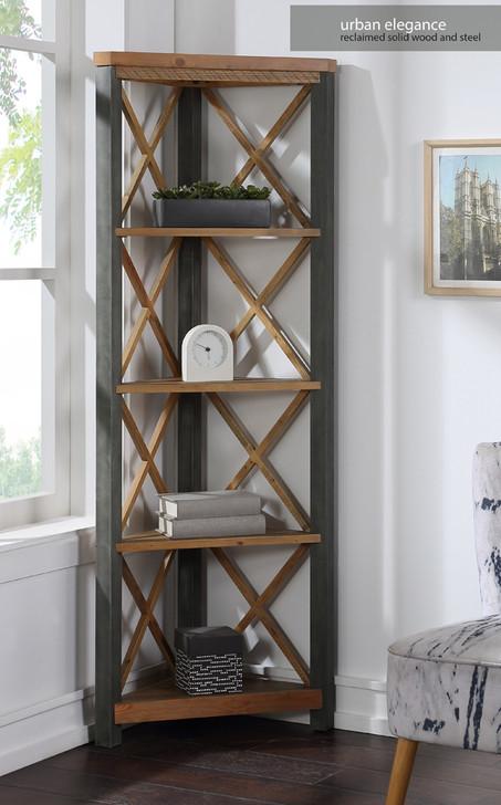 Urban Elegance Reclaimed Large Corner Bookcase - VPR01C - 1