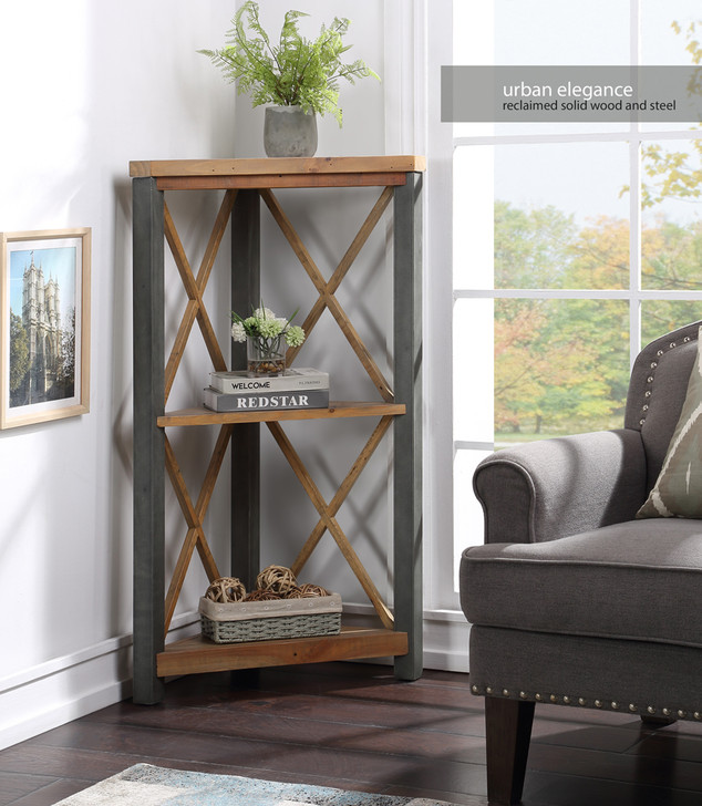 Urban Elegance Reclaimed Small Corner Bookcase - VPR01D - 1
