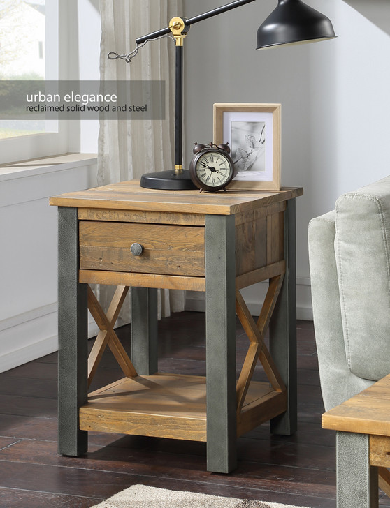 Urban Elegance Reclaimed Lamp Table With Drawer - VPR10B - 1