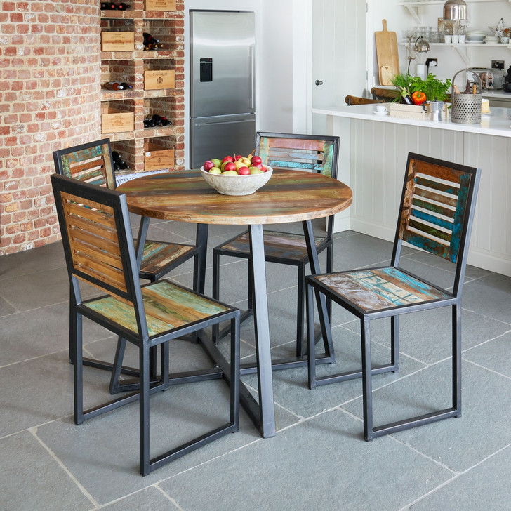Urban Chic Round Dining Table with Four Chairs - WFS-IRF-DR03 - 1