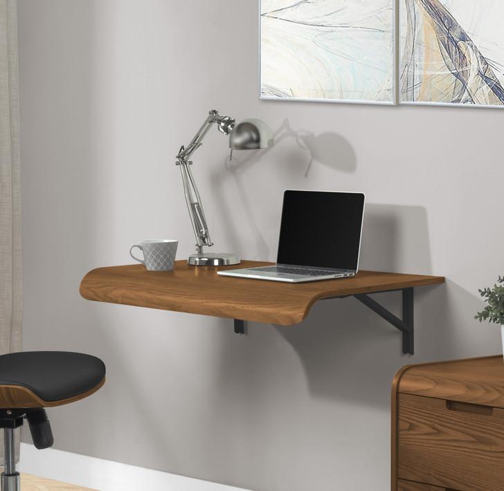 Universal Walnut Wall Mounted Drop Desk