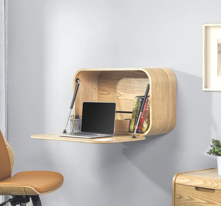 Universal Oak Curved Wall Mounted Desk