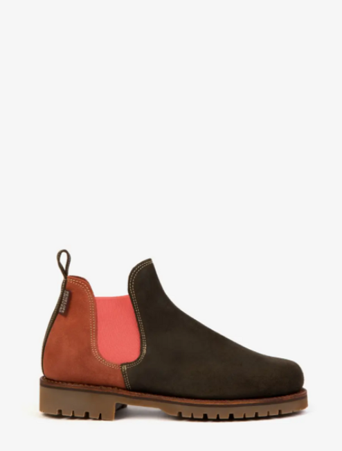 Amelia Colorblock Suede Boot - Khaki/Teracotta