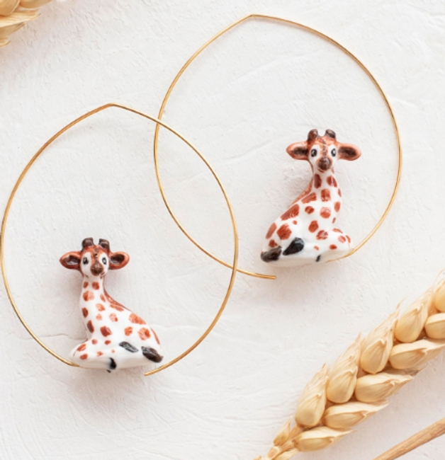 Giraffe Hoop Earrings