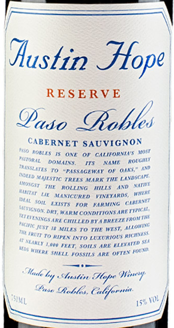 Austin Hope Cabernet Sauvignon Reserve Paso Robles 2018