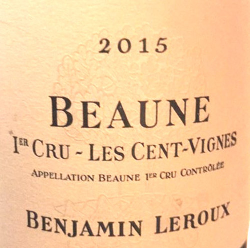 Leroux/Benjamin Beaune 1er cru Cent Vignes 2015