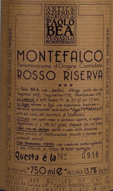 Bea/Paolo Montefalco Rosso Pipparello Riserva 2015