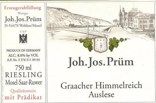 Prum/JJ Riesling Auslese Graacher Himmelreich 2011